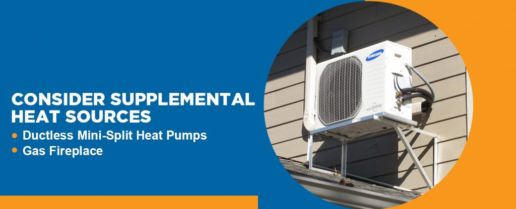 Consider supplemental heat sources like a ductless mini-split heat pump or a gas fireplace